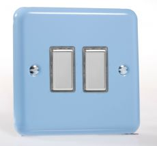 Varilight Eclique 2 Duck Egg Blue - 2 Gang 1 Way Remote Control/Touch Slave LED Dimmer - JYES002.DB
